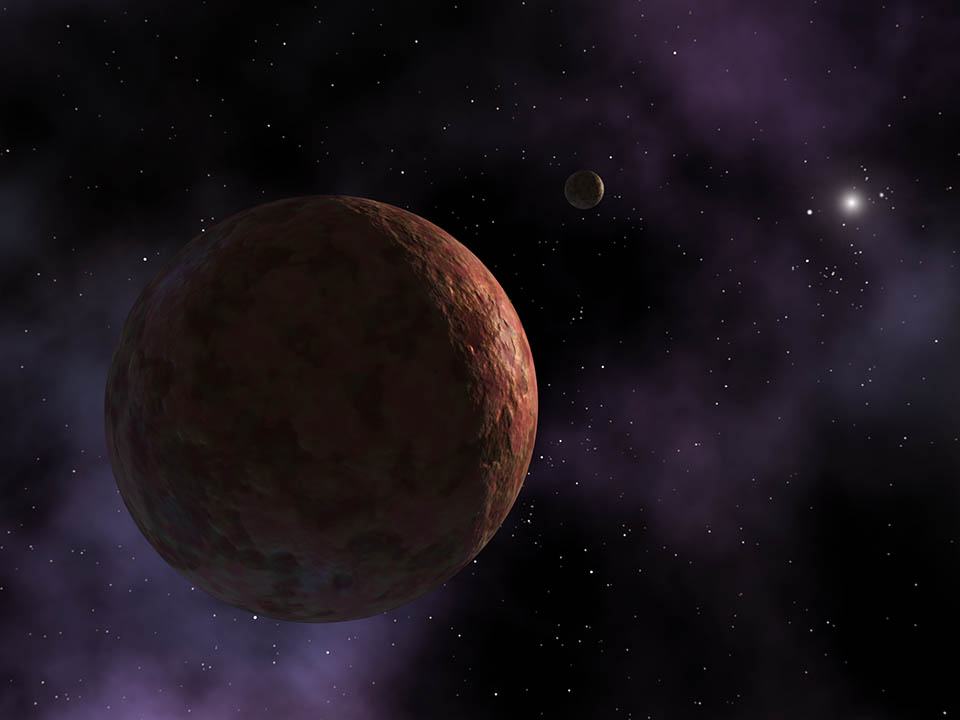 Artist's conception of Sedna, a planet-like object so far away that the Sun appears as an extremely bright star instead of the large, warm disc observed from Earth.