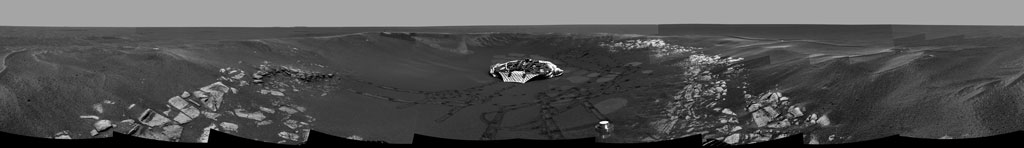 Image mosaic from Mars Exploration Rover Opportunity of panoramic view of crater where rover was exploring after arrival in late January 2004