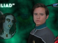 Hidden Frontier Productions Star Trek Odyssey Season 1 Episode 1 promotional image, with Bobby Rice as Lt. Commander Ro Nevin and Michelle Laurent as Romulan Sub Commander T'Lorra.