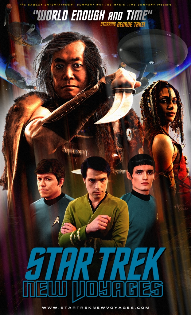 "Promotional poster for Star Trek: New Voyages ""World Enough and Time"" episode  with new actors playing classic crew with George Takei as Sulu"
