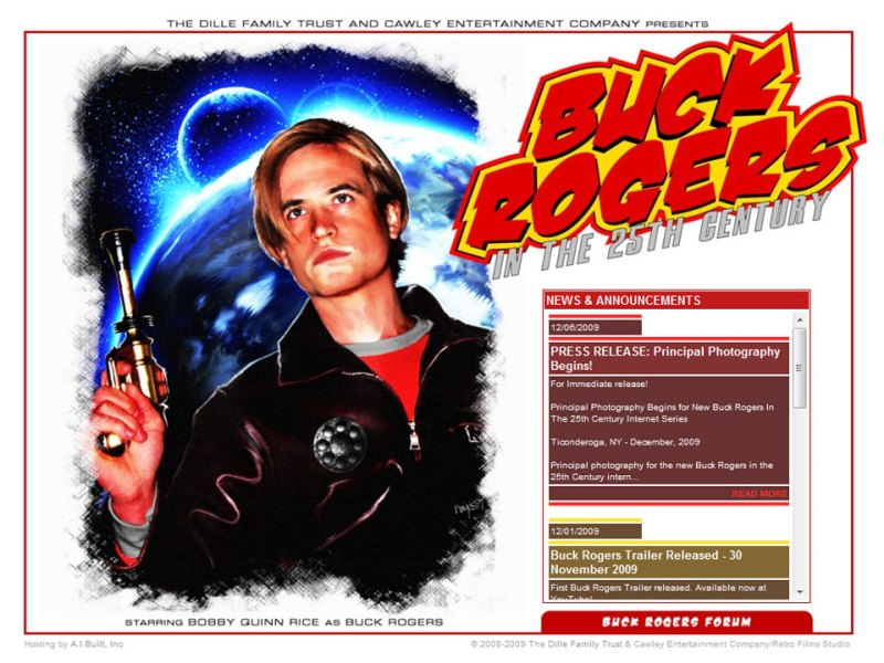 January 03, 2010 screen shot of Buck Rogers Begins website