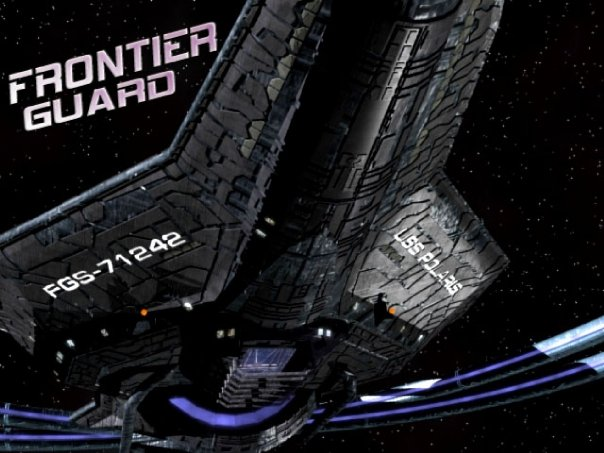 Frontier Guard promotional still with large spaceship