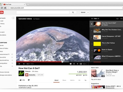 YouTube New Look 2012 with screen shot of new YouTube page for a video