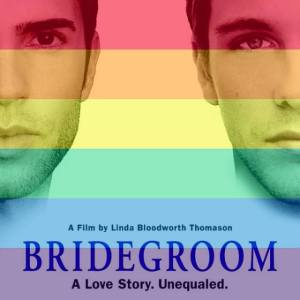 Bridegroom documentary movie poster with Tom Bridegroom and Shane Bitney Crone with rainbow stripes