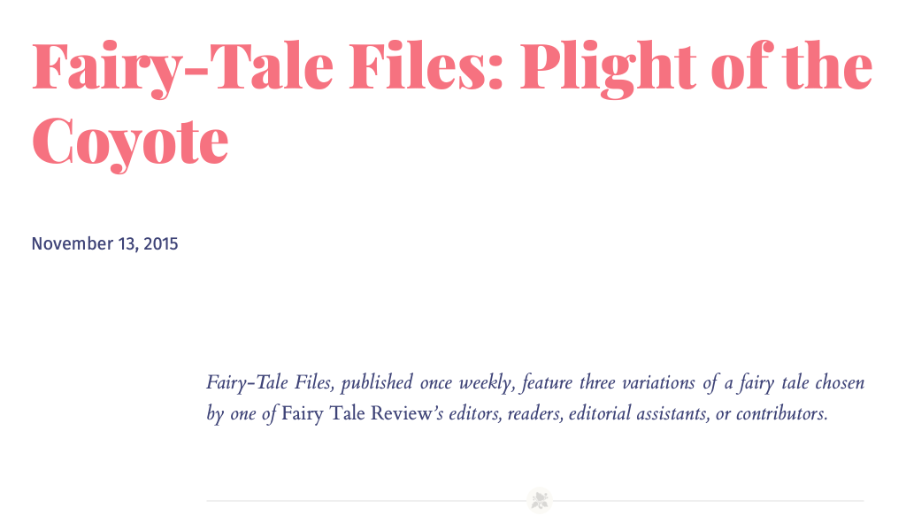 Screenshot of Fairy-Tale Files: Plight of the Coyote essay on Fairy Tale Review website
