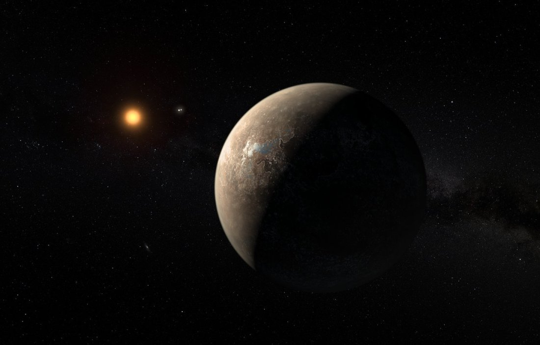 artist's impression shows the planet Proxima b orbiting the red dwarf star Proxima Centauri