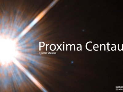 Proxima Centauri header on Frontier Channel, background image by ESA/Hubble