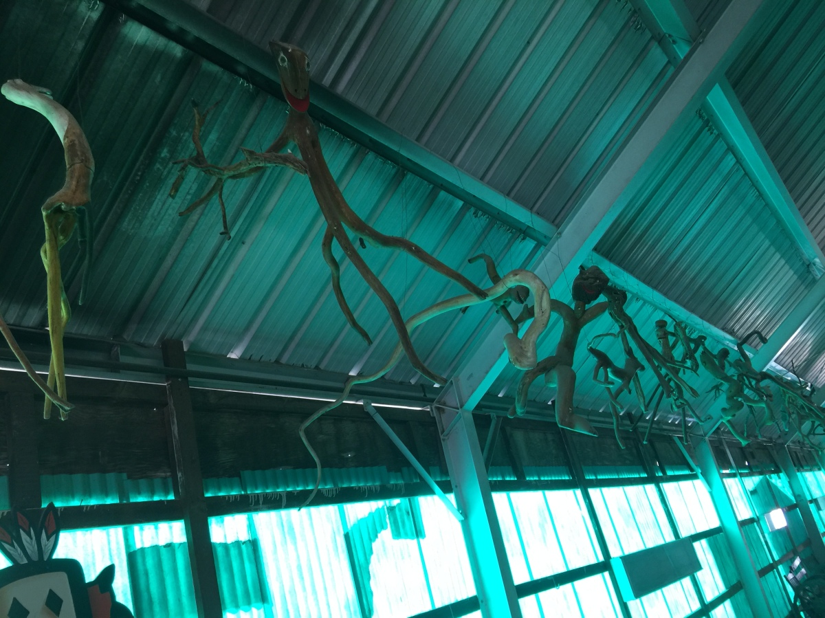 Stick creatures hanging from the ceiling at Bowlin's The Thing? roadside attraction, March 18, 2017