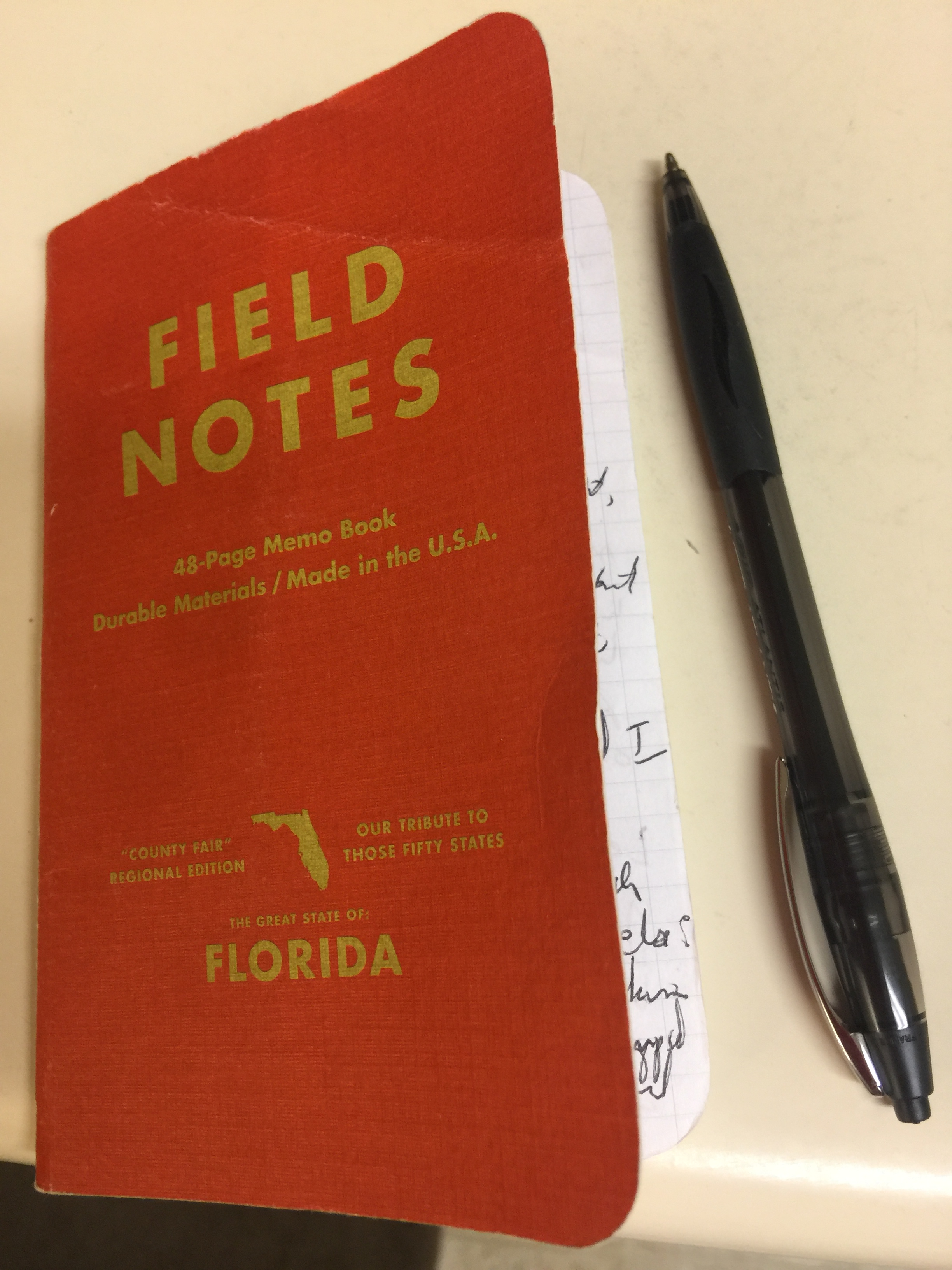 Small Field Notes notebook full of handwritten poetry fragments next to an ink pen for scale