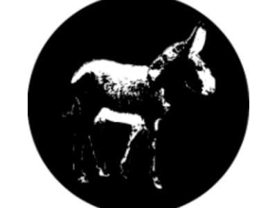Tiny Donkey logo with silhouette of black and white donkey against a black circle
