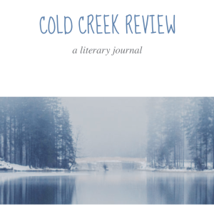 Screen shot of Cold Creek Review website with title of publication and an wintery creek and forest scene on 28 March 2018