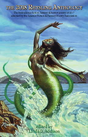 Book cover of The 2018 Rhysling Anthology edited by Linda D. Addison with a mermaid leaping from water