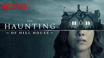 Promo image for The Haunting of Hill House with the haunted house as top of head of woman crying
