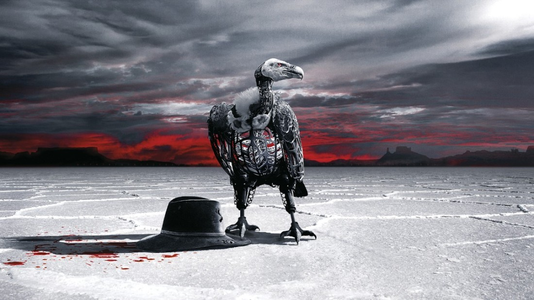 Promo image for Westworld season 2 with cowboy hat and robotic vulture