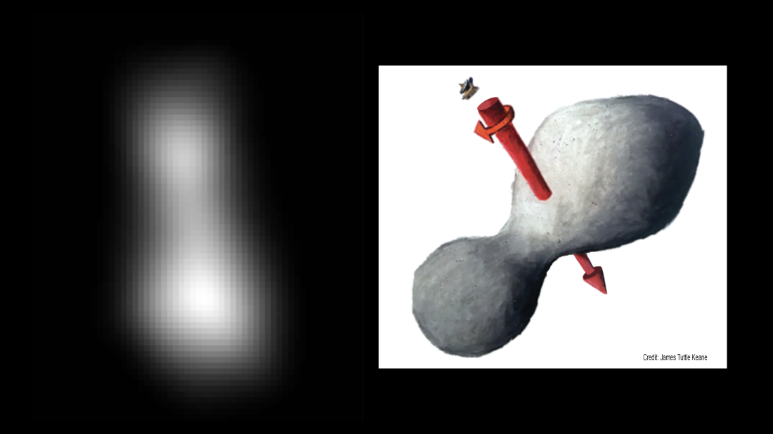 01 January 2019 image of Ultima Thule by New Horizons spacecraft and sketch of object and rotation courtesy James Tuttle Keane