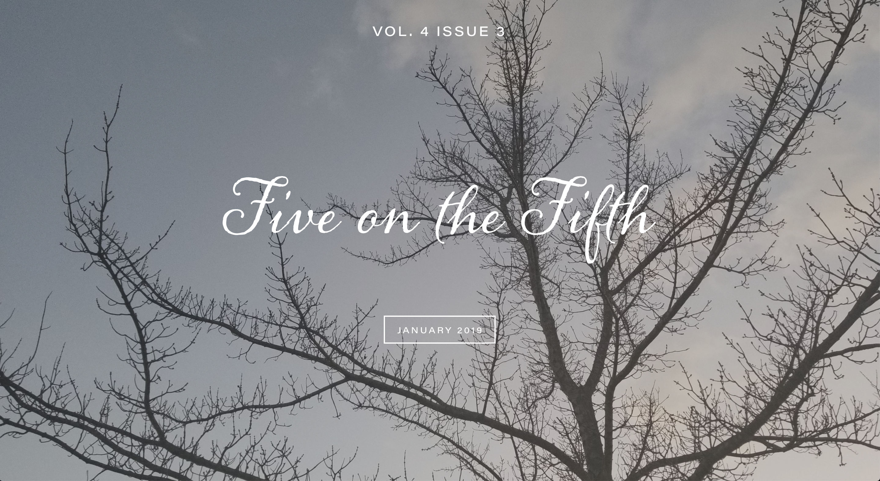 Screenshot of Five on the Fifth website and January 2019 issue with bare tree against the sky
