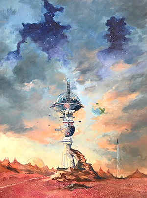 Painting titled Outpost by Robert Frazier used as cover art for The 2019 Rhysling Anthology edited by David C. Kopaska-Merkel