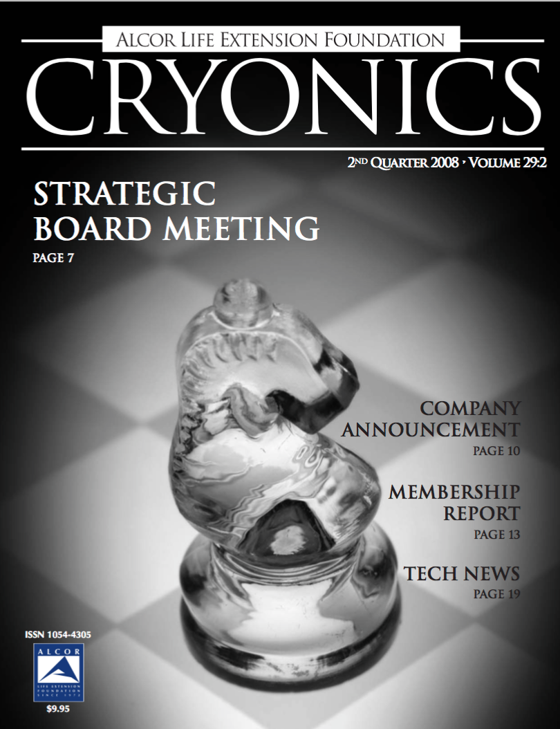 Magazine cover of Cryonics Volume 29:2 2nd Quarter 2008 with transparent knight chess pieces on a black and white chessboard