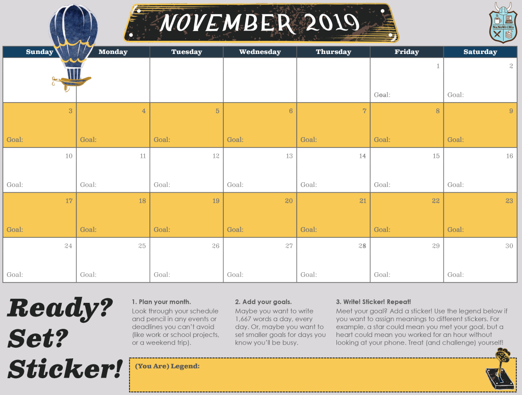 Writing Progress Sticker Calendar by NaNoWriMo for November 2019