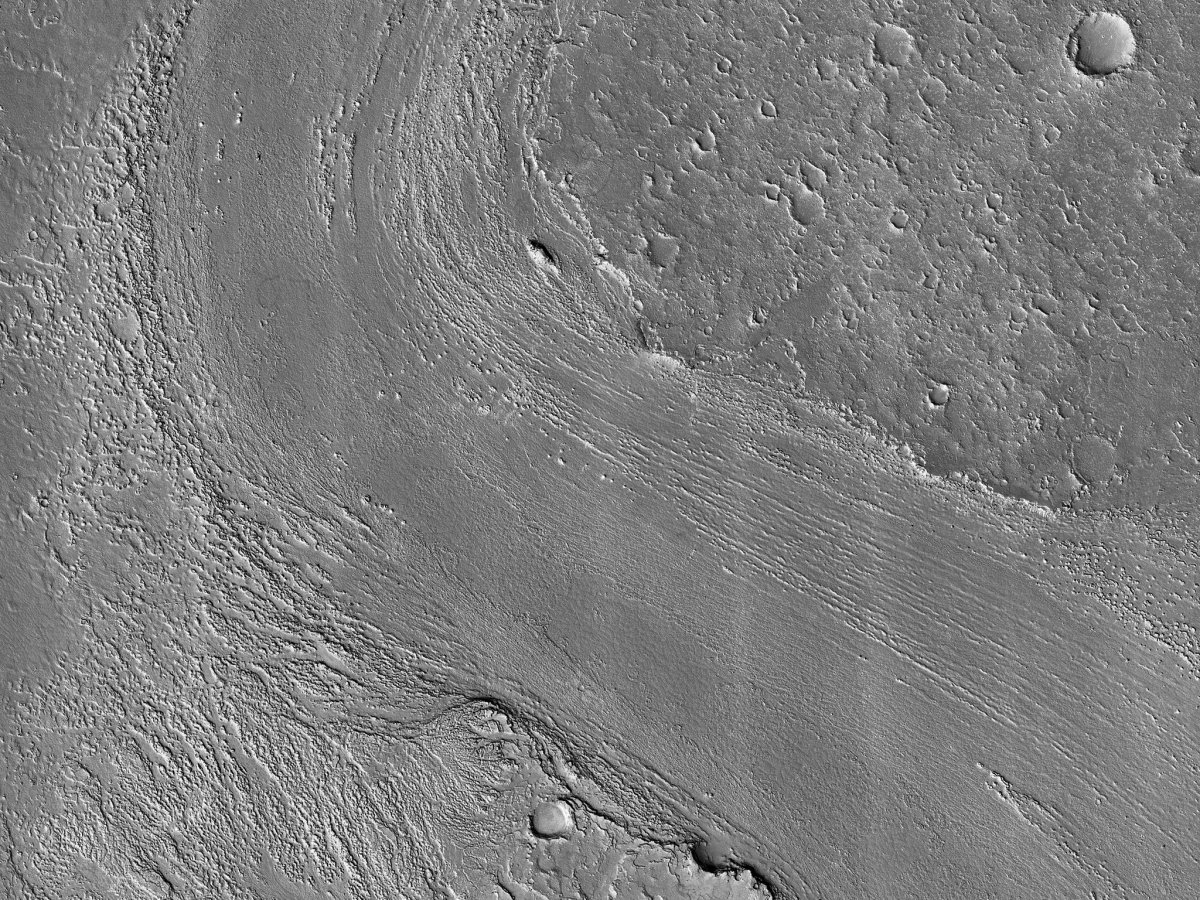HiRISE image ESP_057978_1875 Athabasca Valles distributary showing lava flows originating from Elysium Mons to the northwest