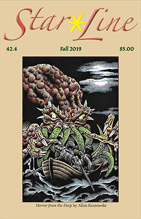 Journal cover of Star*Line 42.4 Fall 2019 with large Lovecraftian monster attacking soldiers in a row boat