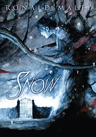 Book cover for Snow by Ronald Malfi featuring a tree with a eerie blue figure peering out at the snowy landscape and a gate