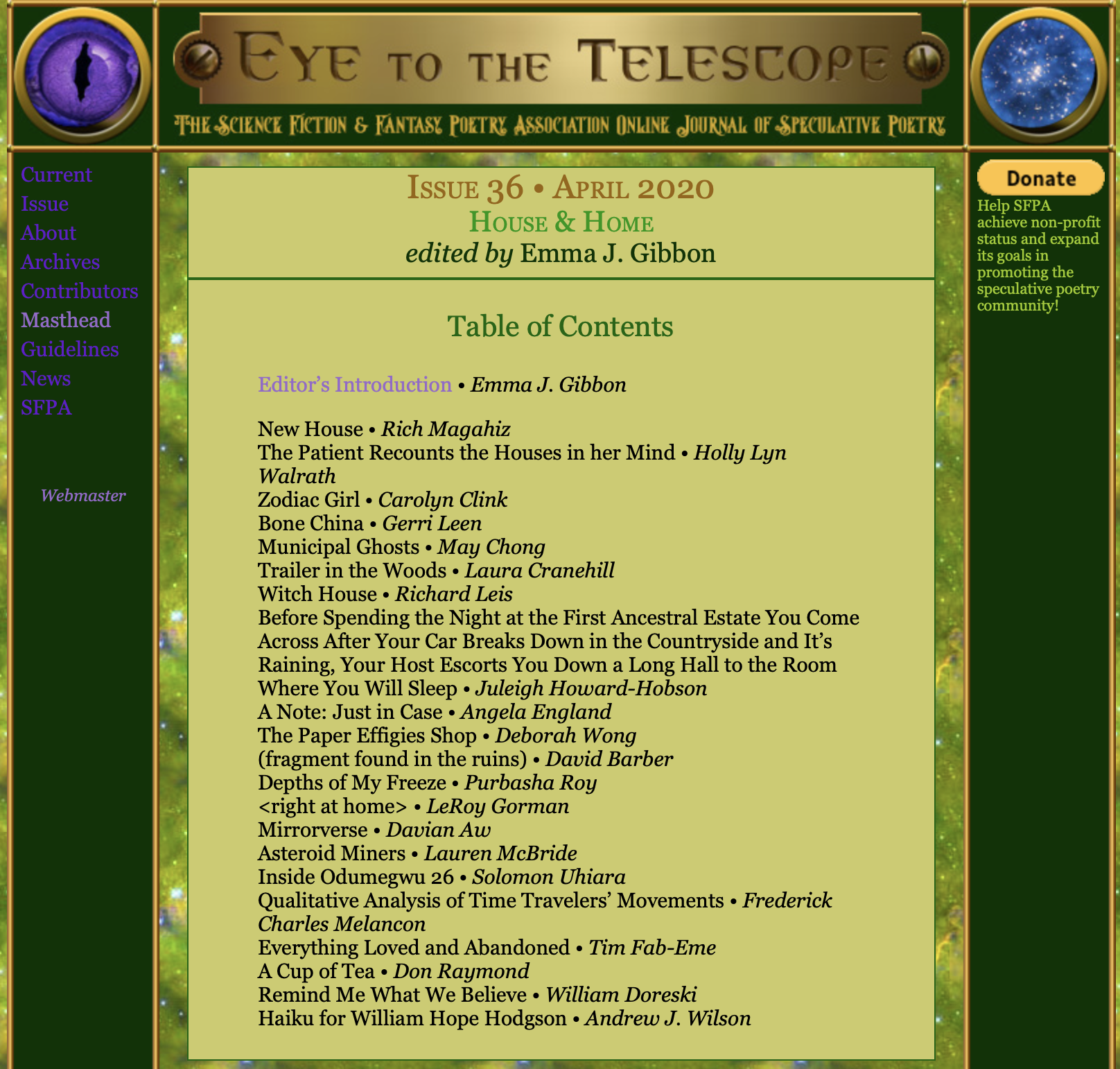 Screen shot of table of contents of Issue 36 of online journal Eye to the Telescope