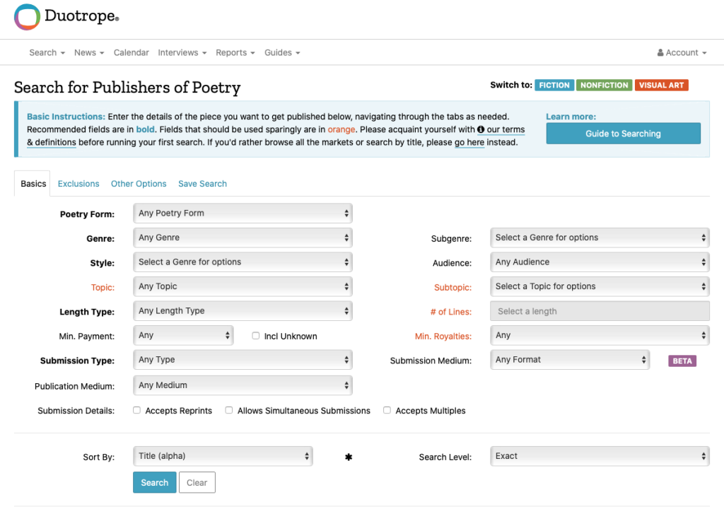 Screen shot of Duotrope's Search for Publishers of Poetry search interface