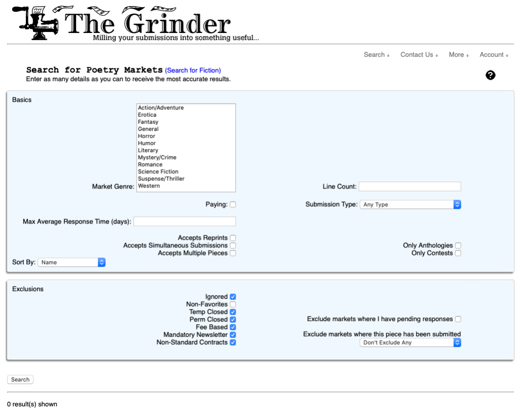 Screen shot of The Grinder's Searth for Poetry Markets interface