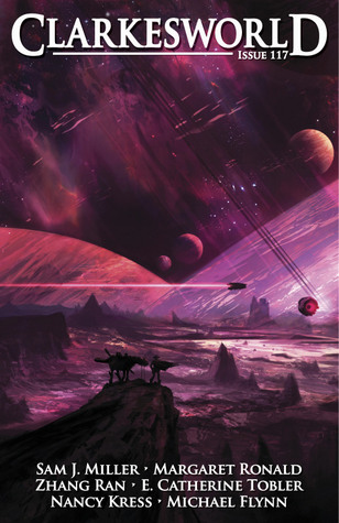 Cover of Clarkesworld issue 117 edited by Neil Clarke with beasts on a desolate alien landscape and a sky full of nearby planets and a rocket