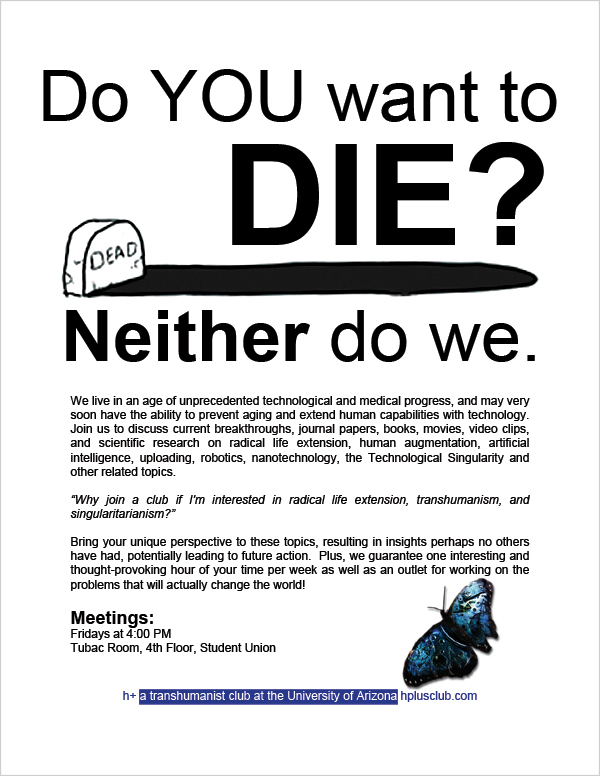 h+ Tucson Do You Want To Die flyer with information and graves and clockwork butterfly logo