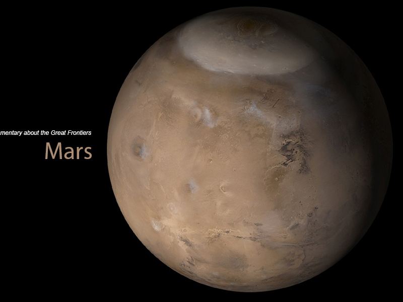 Frontier Channel Mars Header 2020 with website text next to image of Mars