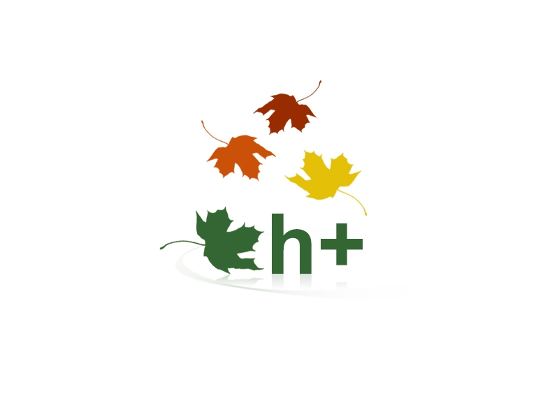 h+ logo with falling leaves in header 2020