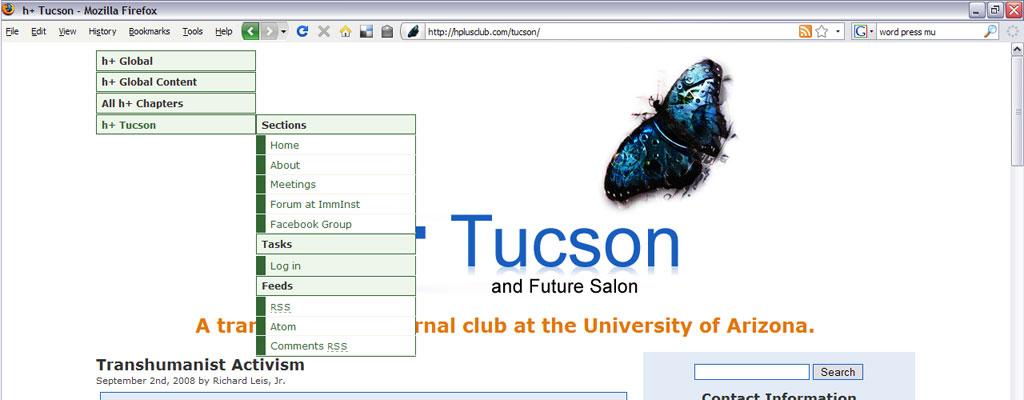 h+ Tucson Menu screen shot 2008 within larger h+ Global website