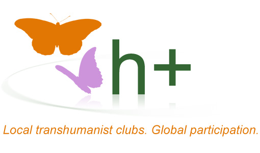 h+ local global header with orange and violet painted butterflies next to h+ reflecting on round surface