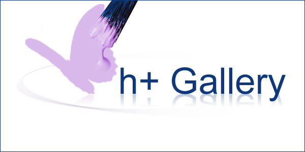 h+ Gallery header with violet butterfly being painted by blue paintbrush with violet paint next to reflecting h+ gallery text on round surface