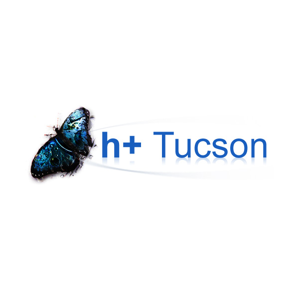 h+ Tucson butterfly logo with text on reflecting round surface