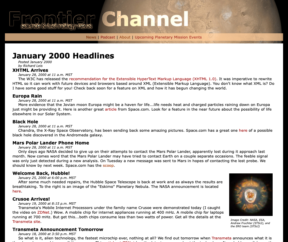 Screen Shot of Frontier Channel 2005 design with thin Mars header at top and short news stories under January 2000 Headlines