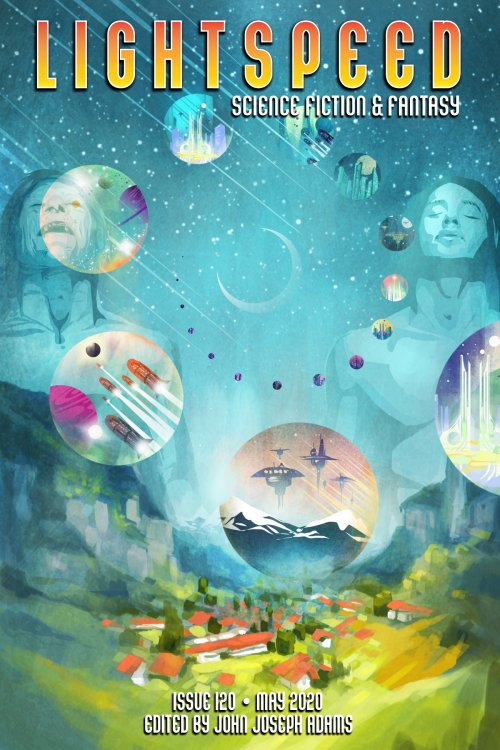 Cover of Lightspeed Magazine issue 120 May 2020 with painting of town in valley surrounded by mountains with two people in the sky and circle portals showing different futuristic times arranged in a spiral