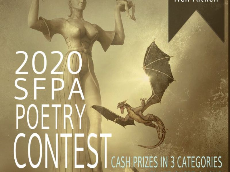 2020 SFPA Poetry Contest announcement poster with painting of a golden dragon flying below a huge statue of a woman holding up two figures in her hands over a rocky landscape