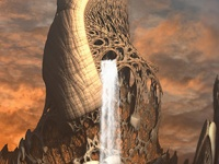 Book cover of the SFPA 2020 Rhysling Anthology with a waterfall falling from a large mushroom mountain