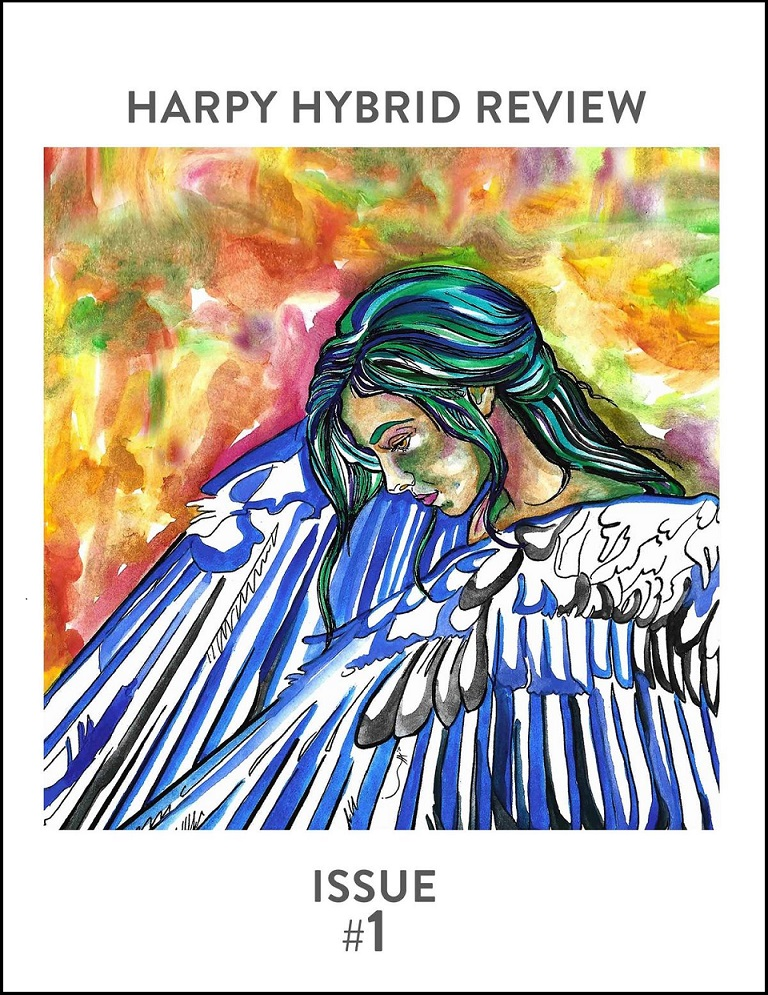 Cover of Harpy Hybrid Review Issue 1 with cover art by Elena Valdés Chavarría and cover typography by Annelies Zijderveld featuring a painting of an angel with wings folded in front