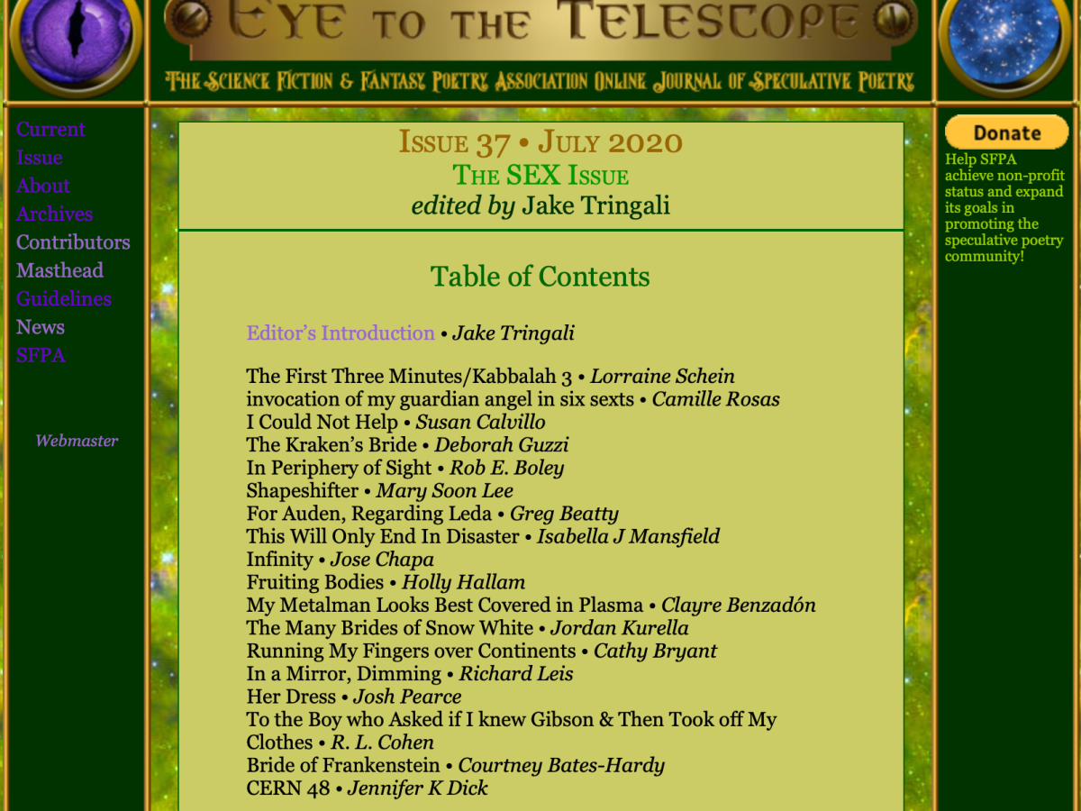 Screen shot of table of contents of Issue 37 of online journal Eye to the Telescope