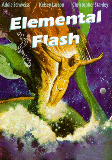 The Molotov Cocktail Elemental Flash Issue cover with a golden person or god perhaps on fire descending into a green gas or the atmosphere of a planet, with other planets or moons and a starscape in the background