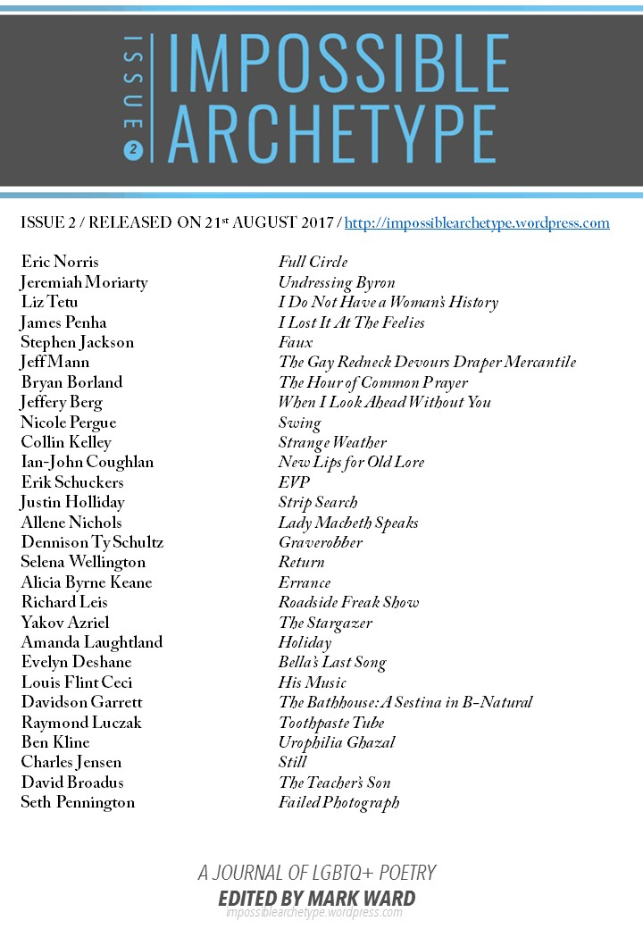 List of Impossible Archetype Issue 2 poets and contents under journal logo, release date, and URL