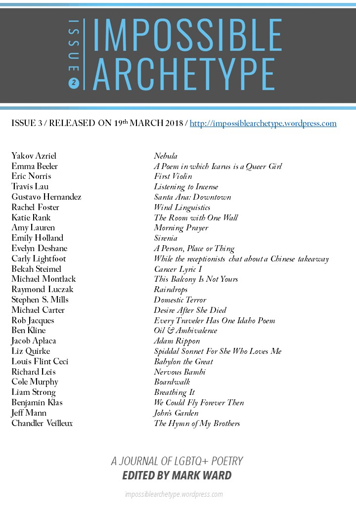 List of Impossible Archetype Issue 3 poets and contents under journal logo, release date, and URL