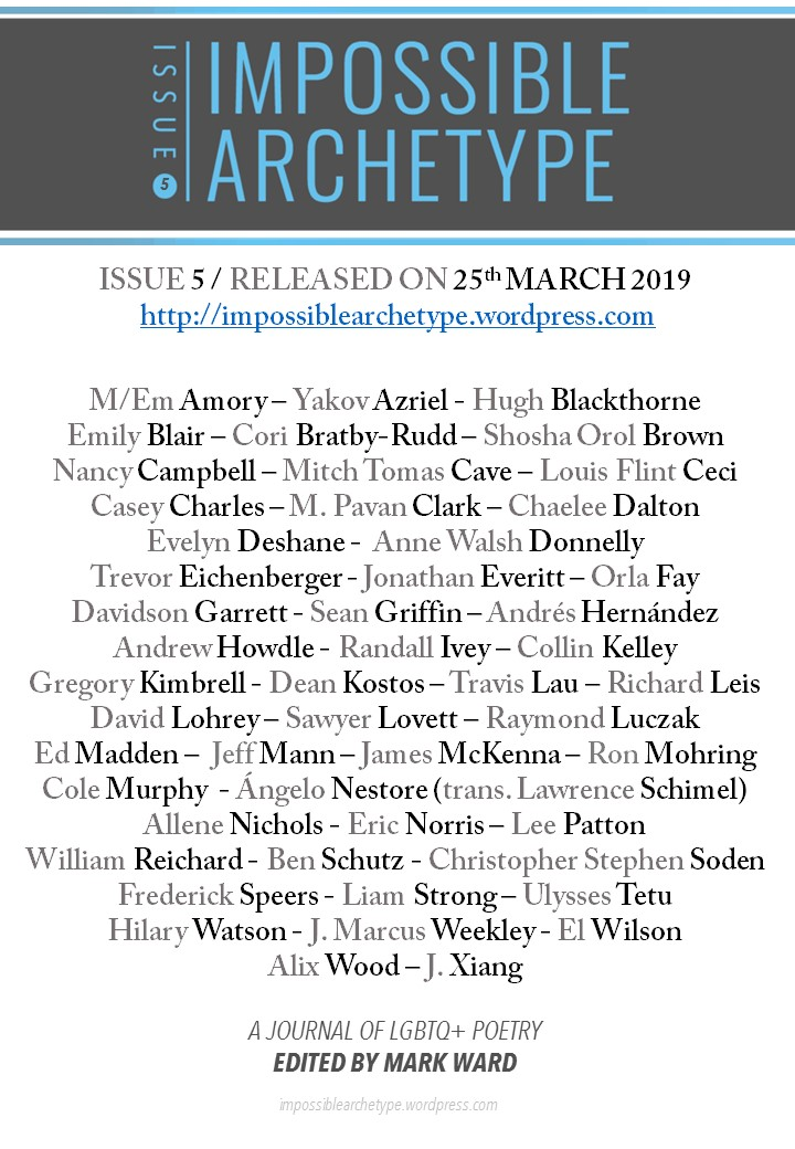 List of Impossible Archetype Issue 5 poets under journal logo, release date, and URL