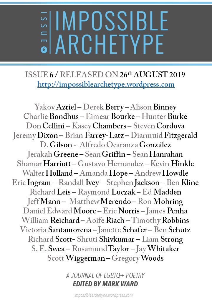 List of Impossible Archetype Issue 6 poets under journal logo, release date, and URL