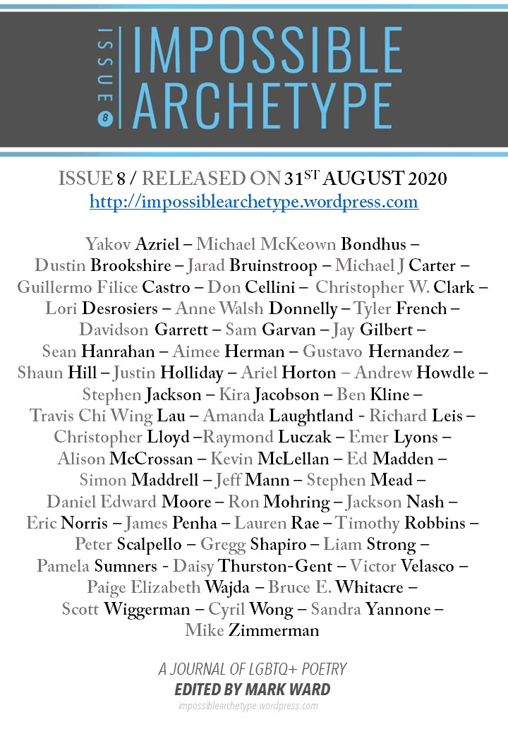List of Impossible Archetype Issue 8 poets under journal logo, release date, and URL