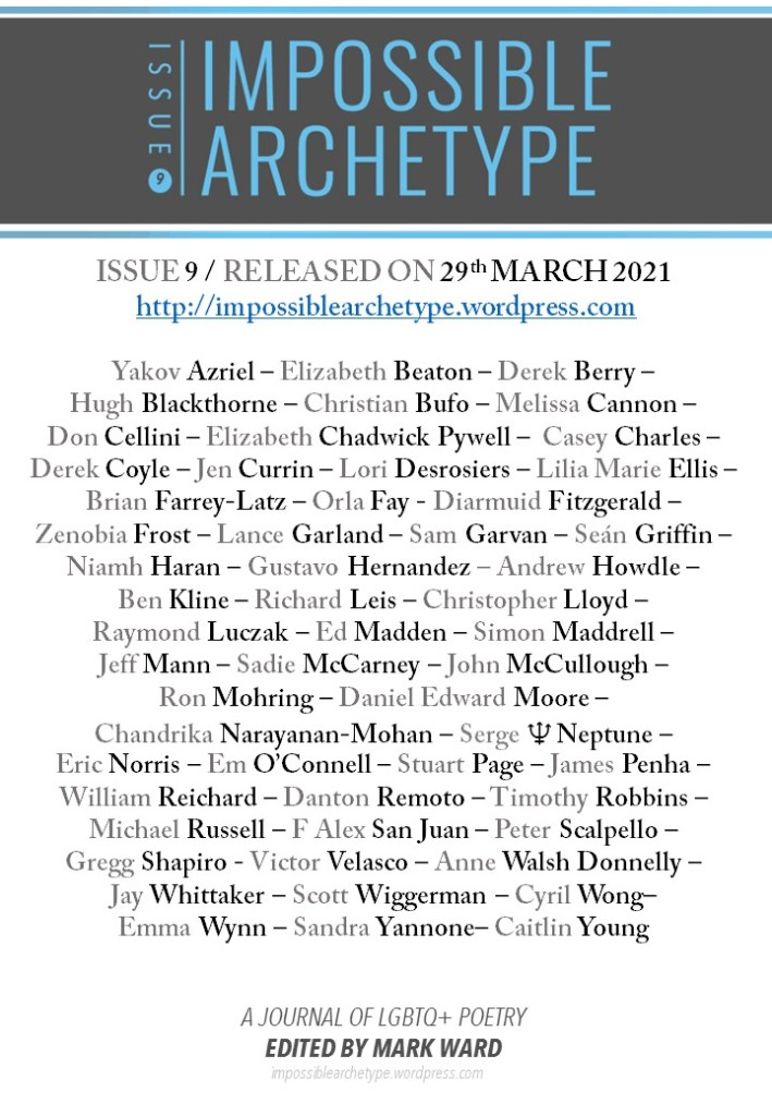 List of Impossible Archetype Issue 9 poets under journal logo, release date, and URL